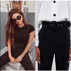 ZARA Black High Waisted Belted Trousers BLOGGERS F